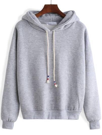 Grey Hooded Long Sleeve Crop Sweatshirt