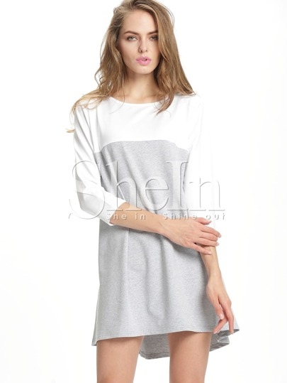 Grey White Color Block Casual Dress