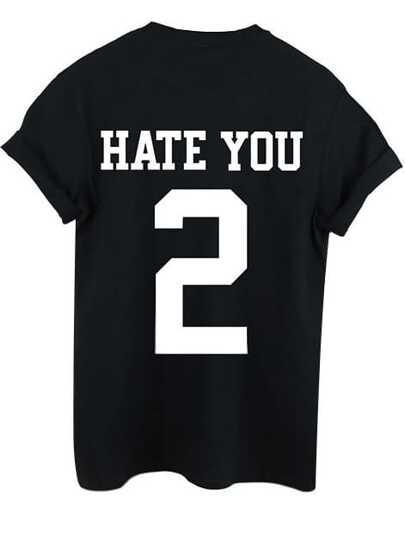 Black Round Neck Letters 2 Print T-Shirt