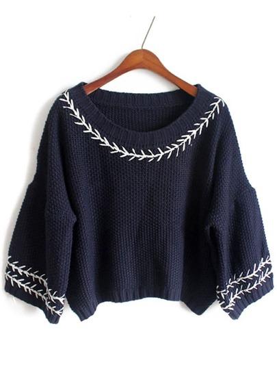 Navy Lantern Sleeve Embroidered Crop Sweater