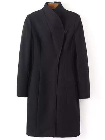 Black Lapel Long Sleeve Slim Coat