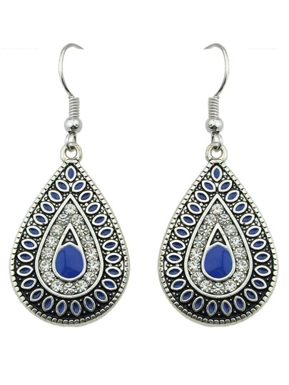 Blue Enamel and Rhinestone Drop Daily Wear Earrings