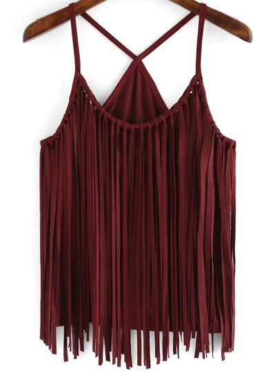 Red Slip Tassel Cami Top