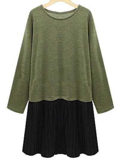 Vestido cuello redondo plisado -verde negro