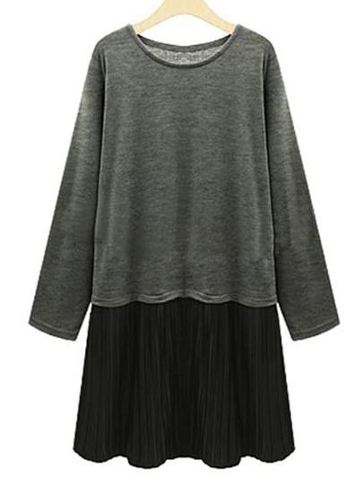 Vestido cuello redondo plisado -gris negro