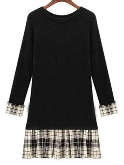 Black Round Neck Plaid Slim Plus Dress
