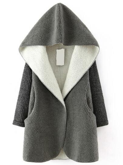 Grey Hooded Sweater Long Sleeve Loose Coat