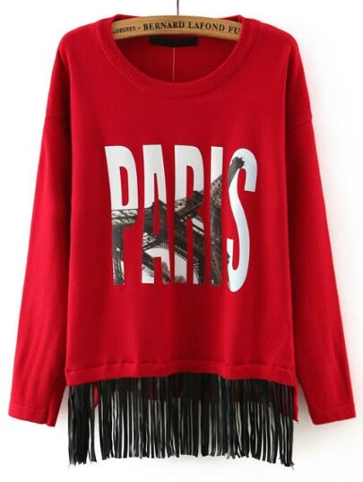 Red Round Neck Eiffel Tower Print Tassel Knitwear