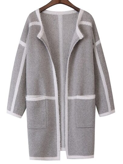 Grey Contrast Trims Pockets Sweater Coat