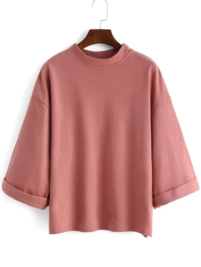 Pink Stand Collar Loose Casual T-Shirt