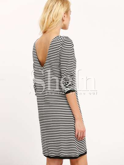 Black White Long Sleeve Striped Dress