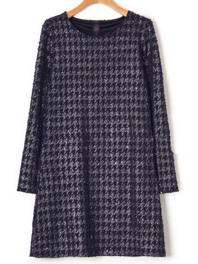Lose Kleid Rundhals mit Hahnentritt Dessin - marineblau
