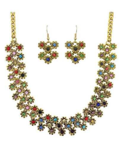 Colorful Enamel Flower Shape Necklace Earrings Set