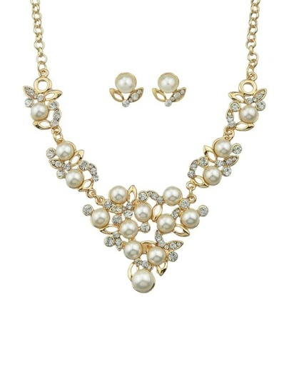 White Imitation Pearl Flower Necklace Earrings Wedding Jewelry Set