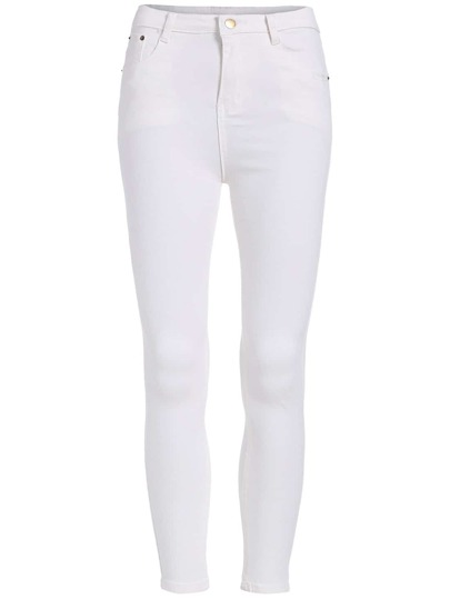 White Skinny Pockets Denim Pant