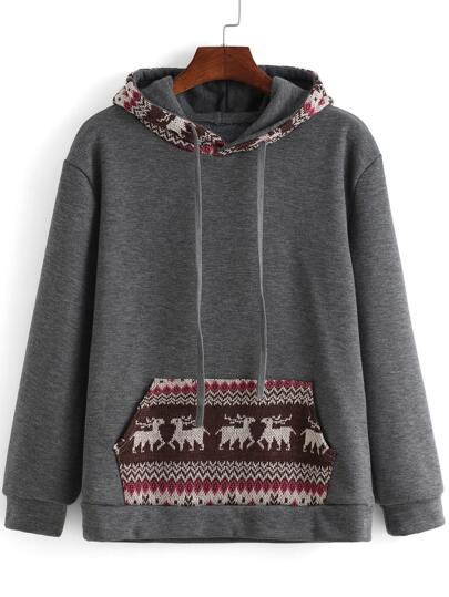 Grey Hooded Long Sleeve Deer Print Sweatshirt
