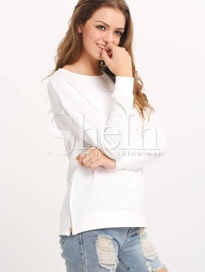 White Long Sleeve Split T-Shirt