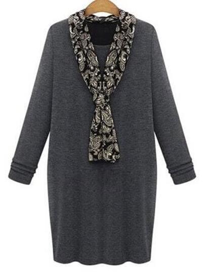übergrößes Kleid Langarm mit Schal Kragen - grau
