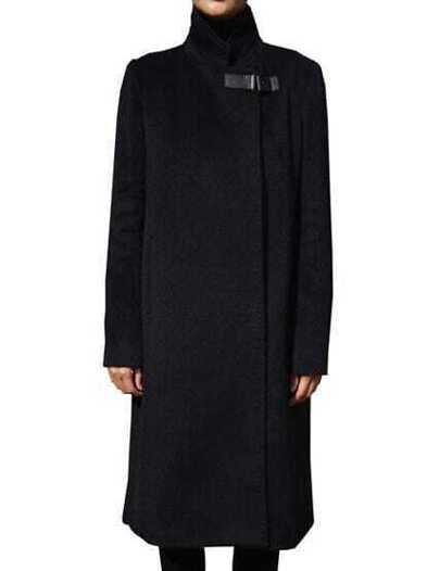 Black Stand Collar Pockets Long Coat