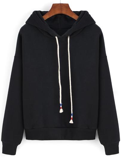 Sweat-shirt à capuche avec cordon -noir