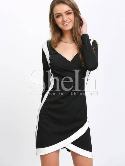 Black Long Sleeve V Neck Sheath Dress
