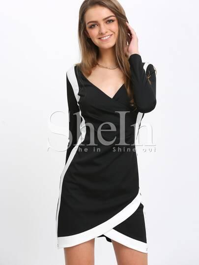 Black Long Sleeve V Neck Sheath Dress