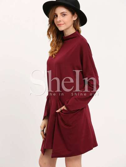 Burgundy High Neck Pockets Dress