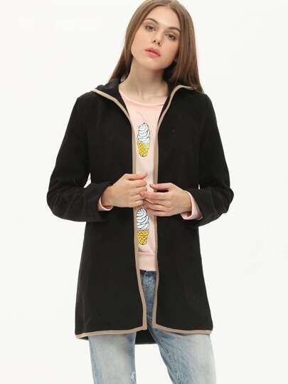 Black Hooded Loose Woolen Coat