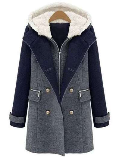 Color-block Hooded Zipper Double Breaste Pockets Coat