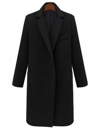 Black Lapel Single Button Long Coat