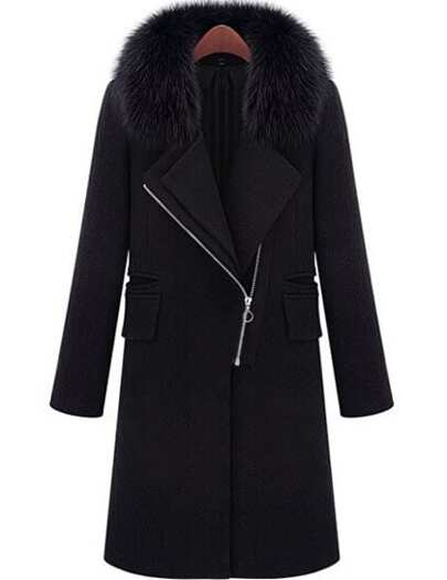 Black Lapel Zipper Long Coat