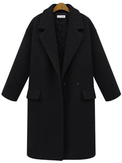 Black Lapel Single Button Pockets Long Coat
