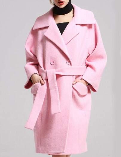 Pink Lapel Pockets Loose Coat