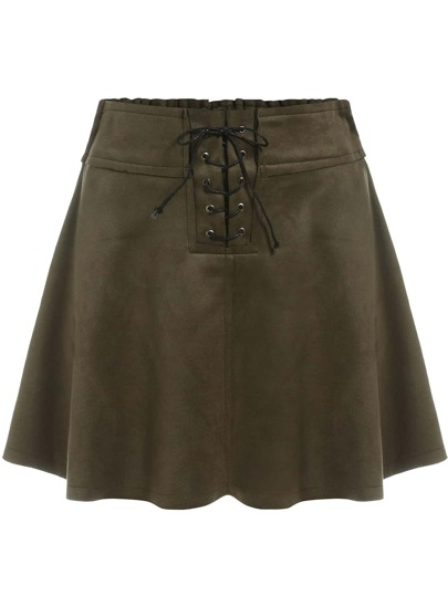 Army Green Lace Up Flare Skirt