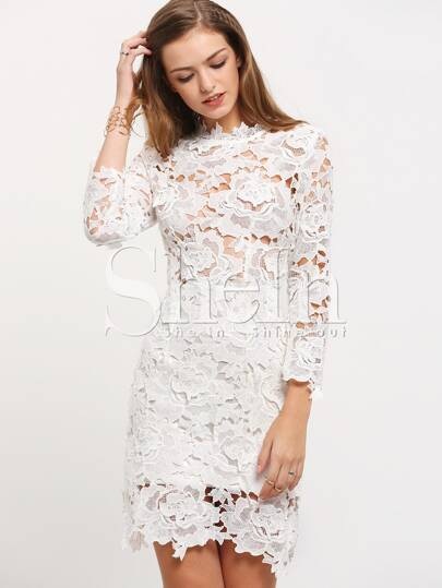 White Round Neck Lace Bodycon Dress