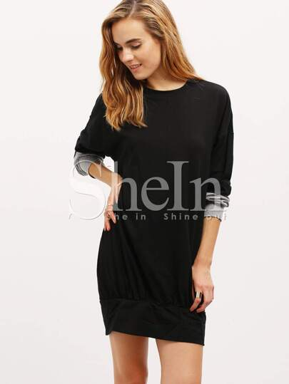 Black Long Sleeve Color Block Dress