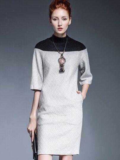 Robe bi-matière manches longues col rond -gris