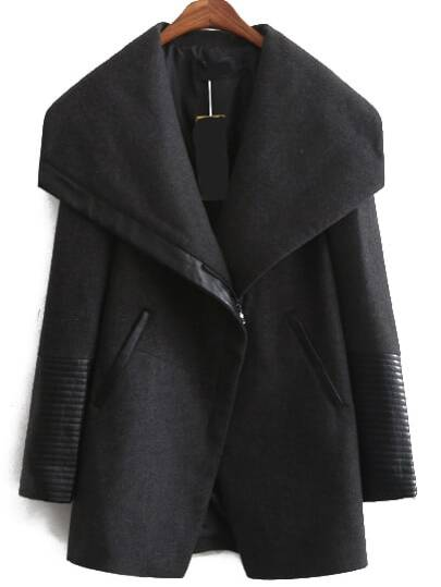 Black Lapel Zipper Cuff Loose Coat