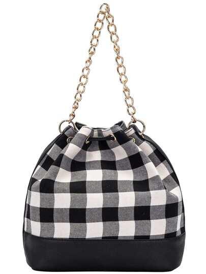 Black White Drawstring Random Plaid Chain Shoulder Bag