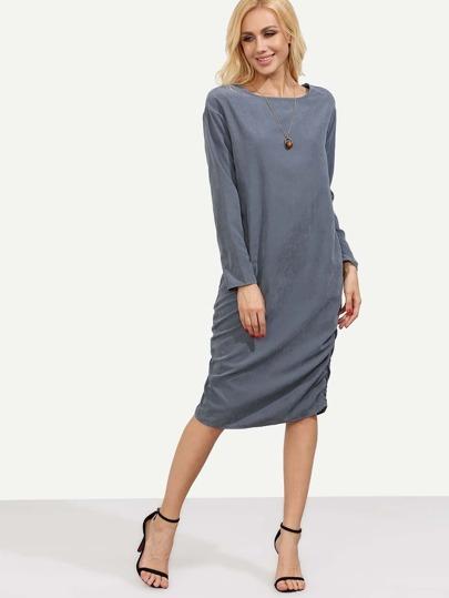 Blue Long Sleeve Round Neck Dress
