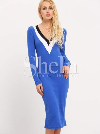 Vestido manga larga -azul