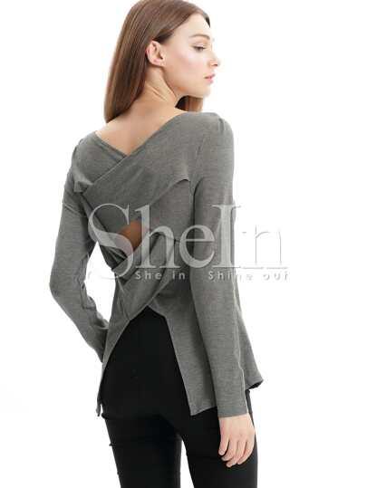 Grey Long Sleeve Cut Out T-Shirt