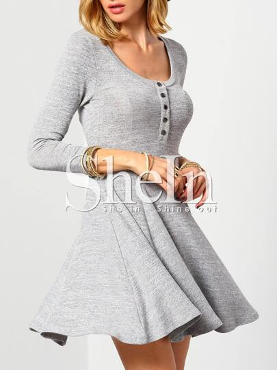 Grey Round Neck With Button Dress