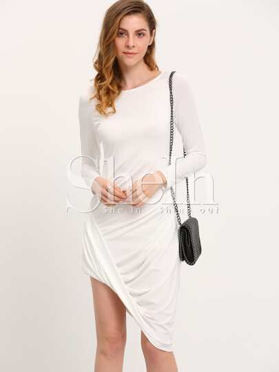 Vestito asimmetrico con maniche lunghe bianco