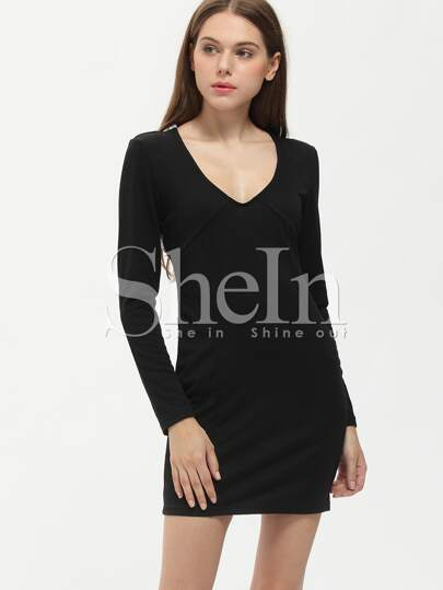 Black Long Sleeve Sequined Dress
