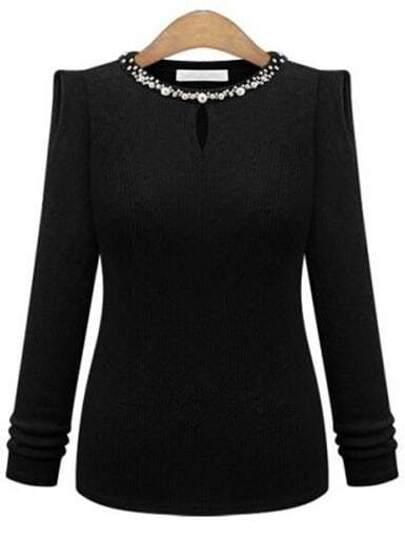 Black Beaded Neck Keyhole Front Ribbed Sweater