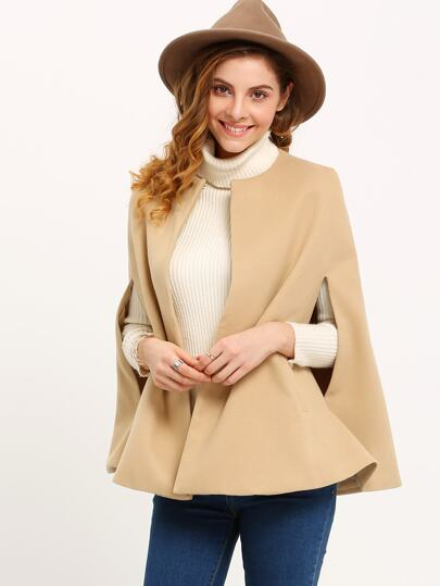Khaki Round Neck Loose Woolen Cape