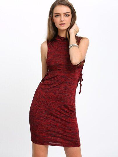 Burgundy Mock Neck Lace Up Side Bodycon Dress