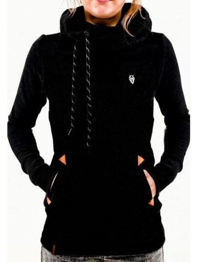 Black Hooded Long Sleeve Pockets Sweatshirt