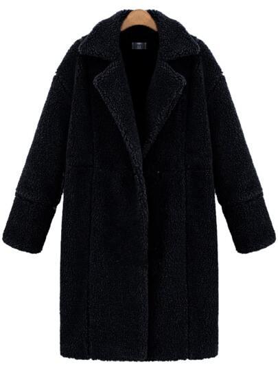 Black Lapel Long Sleeve Loose Coat
